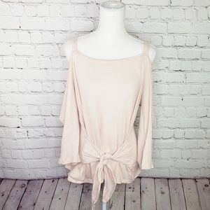 Lucky Brand cold shoulder tie front blouse